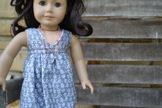 This super soft gray fabric is so pretty and light! American Girl Doll Dress  Gray Vines Salina by camelotstreasures, $17.99  #libertyjane #salinadress
