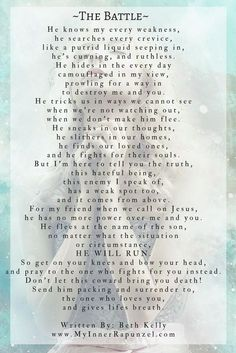 This poem is an expression of the daily spiritual battles we face and the one weapon we can use to win. As scary as this sounds, it's very true. Spiritual Warfare Prayers, Spiritual Warrior, Prayer Warrior, Spiritual Poems, Spiritual Pictures, Christian Poems, Christian Faith, Armor Of God, Prayer Quotes