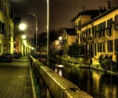 Milano, Naviglio Martesana by Marco Scodeggio on Invisible Cities, Sicily Italy, Bella, Milan, To Go, Traveling, Architecture, Night, Heart