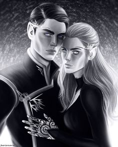 """faeriereverie: """" Night Triumphant - and the Stars Eternal. Idk where Feysand lands in my ultimate otp list BUT THEY R DEF TOP FIVE. Rhysand came out looking exactly like how I've always pictured him in my head so that's great hehe. Check out my..."""
