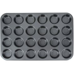 "Easily and efficiently prepare baked goods like muffins and cupcakes with this 24 cup muffin pan! This cupcake baking pan is made of easy-to-clean carbon steel and has a non-stick coating, ensuring neat serving and quick clean-up. The pan features 24 cups so that many muffins and cupcakes can be prepared at once. <br><br><b><u>Overall Dimensions:</b></u> <br>Length: 20 1/2"" <br>Width: 14"" <br><br><b>&lt..."
