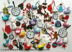 Bugs and Fishes by Lupin: LOTS of Felt Christmas Decorations