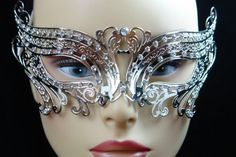 Elegant Silver Swan Metal laser Cut Venetian Masquerade Mask with Diamonds ** To view further for this item, visit the image link.
