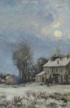 """Camille Pissarro (1830-1903) ~ """"Louveciennes, Le Relais de Poste, Route de versailles, Scène d'Hiver"""", 1872 (Détail) ~ Huile sur Toile Originale 32.7 x 46.2 cm"""