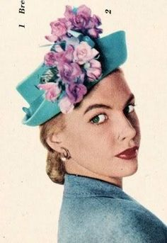 1940s bretton hat- Love the teal blue with pink purple flowers.