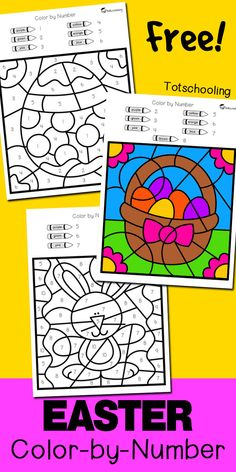 FREE printable color by number activity with an Easter theme, featuring an Easter bunny, egg and basket. Great for number recognition in preschool and kindergarten.