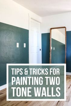 Need some tips and tricks for painting two tone walls? I love this two tone walls paint makeover! Learn how to create your own color block walls and get half and half painted walls like this! Two Tone Walls, Two Tone Paint, Hallway Paint, Room Paint, Demis Murs, Half Painted Walls, Tan Walls, Ceiling Trim, Block Wall
