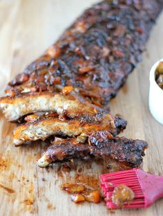 Baby Back Ribs with Balsamic Peach BBQ Sauce - Damn Delicious