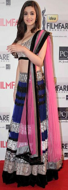 Alia Bhatt ~ Navy Blue  Pink Lehenga Choli — Unusual but pretty color combination! #SouthAsianCouture