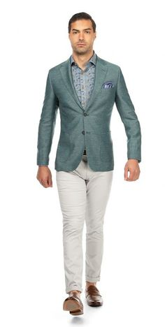 Messina Green Hopsack Jacket A vibrant construction of strong green shades brightens up your summers looks. This Messina Green Hopsack Jacket is cut with a narrower shoulder & silhouette, in a luxurious Cool Wool, and Linen; Blazers For Men, Wedding Suits, Shades Of Green, Summer Looks, Trousers, Sleeves, Jackets, Clothes, Ideas