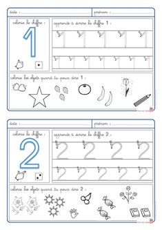 5 fiches pour apprendre à écrire les chiffres de 1 à 5 et pour aborder la numération. Montessori Math, Preschool Curriculum, Kindergarten Math, Math Activities, Preschool Activities, Numbers Preschool, Math Numbers, School Worksheets, Math For Kids
