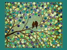 Rain Forest: Acrylic Love Birds Painting