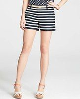 """Riviera Stripe Shorts - Boldly striped for splashy summer style, this look-sharp pair is cut above the rest. Front zip with double hook-and-bar closure. Belt loops. Front off-seam pockets. 4 1/2"""" inseam."""