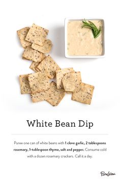 White Bean Dip. Light and delicious. Perfect for parties. Made from white beans, garlic, rosemary and thyme.