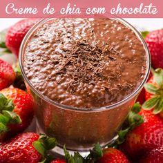 """""""Chocolate sem culpa? Sim, é possível!!! Que tal esse creme de chia que pode ser sobremesa, lanche e café da manhã? E o melhor: é tão fácil de fazer que…"""""""