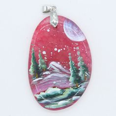 HAND PAINTED SCENERY GEMSTONE STONE NECKLACE PENDANT BEAD H0000073 #ZL #PENDANT