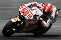 The late Marco Simoncelli #58 in action during Friday;s opening practice. Two days before his tragic death at the Sepang International Circuit, Malaysia. A great loss to the motorcycle racing fraternity. Rest in peace Super Sic