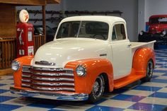 A & E Classic Cars : Classic Cars For Sale : 1951 Chevrolet 5 Window Pickup - Ivory & Orange