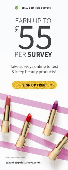 Take paid surveys online to receive cash, vouchers and free makeup samples! Free Makeup Samples, Free Cosmetic Samples, Take Surveys, How To Apply, Coupons, Beauty, Business, Tips, Coupon