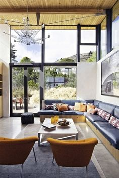 Living Room At The Stinson Beach House by WA Design