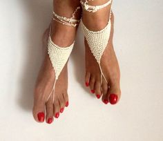 ivory Barefoot Sandals bead barefoot sandles by SibelDesign. //  LOVE THESE!!! A