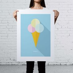 IMIMAH Broadwalk Daydream Print 18×24″. $48 + P&P.   Our delightful pastel ice cream print is available at: IMIMAH.co/prints  #icecream #popart #interiordesign #homewear #decor #prints #print #poster #wallart #cherry #cute #bright #colourful Print Poster, Icecream, Daydream, Pop Art, Cherry, Pastel, Bright, Wall Art, Cute