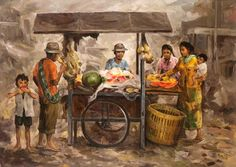 S. TOYO (Blitar, 1935 – Malang, 2000) Penjual Buah, 1994 Bali Painting, Indonesian Art, Dutch East Indies, Life Paint, Dutch Colonial, Fashion Painting, Cata, Balinese, Various Artists