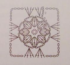 Haken en meer: Haakpatroon bloem. Flower Granny Square diagram.  ☀CQ #crochet #crafts #DIY  Thanks so much for sharing! ¯\_(ツ)_/¯