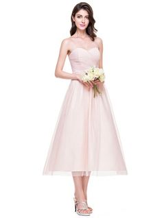 dfe74e005f2 A-Line Princess Sweetheart Tea-Length Ruffle Zipper Up at Side Strapless  Sleeveless No Other Colors Spring Summer Fall General Plus Tulle Bridesmaid  Dress