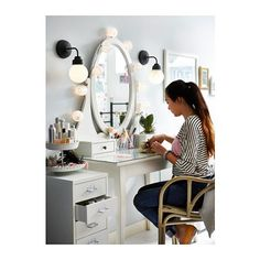 HEMNES Dressing table with mirror - white - IKEA