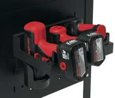 Snap-on's power tool rack (KAS12PWRPV) is designed to hold three power tools and can be quickly and easily installed on Snap-on tool storage units manufactured from 1996 to the present, including carts, work-stations, locker doors and more. The height of the holsters, as well as the width of the holders, can be adjusted to accommodateRead More