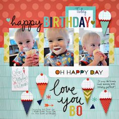 Scrapping with Christine: My Creative Scrapbook Guest Designer - Creative Kit Layouts Birthday Scrapbook Layouts, Baby Scrapbook Pages, Scrapbook Sketches, Scrapbook Page Layouts, Scrapbook Albums, Scrapbook Cards, Scrapbooking Ideas, Boy Birthday, Happy Birthday