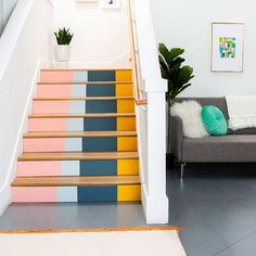 A digital media and commerce company that enables creativity through inspirational content and online classes. Stairs Colours, Wall Colors, Paint Colors, Hallway Ideas Entrance Narrow, Modern Hallway, Stair Paneling, Large Console Table, Staircase Wall Decor, Painted Staircases