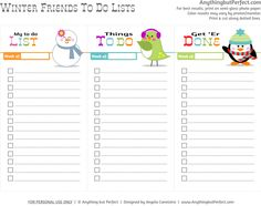 """FREE printable winter friends """"to do"""" list by  http://anythingbutperfect.com"""