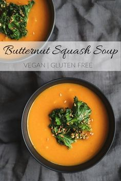 This simple Butternut Squash Soup is made with only seven basic ingredients you can easily get your hands on right now. Thick, creamy and nutritious. Low Calorie Vegetarian Recipes, Vegetarian Breakfast Recipes, Vegetarian Dinners, Healthy Recipes, Easy Recipes, Vegan Butternut Squash Soup, Chili Recipes, Soup Recipes, Healthy Soup