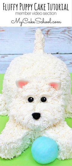 Learn to make a CUTE and simple Fluffy Puppy Cake! Dieser CUTE Fluffy Puppy Cake ist aus der M Cake Decorating Designs, Creative Cake Decorating, Cake Decorating Classes, Cake Decorating Techniques, Cupcakes Decorating, Decorating Ideas, Dog Cakes, Cupcake Cakes, Fondant Cakes