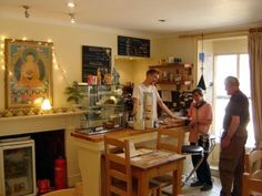 Oasis World Peace Café, Attleborough, Norfolk. Buddhist veggie cafe. Very child friendly, kids can roam and there are loads of books. Garden with seating. Superb value cakes. Closed Sunday and Monday. Other times 10.30 am to 3.30pm only.