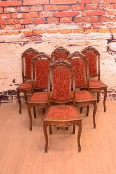 Sechs traumhafte antike Gründerzeit Samt Stühle ca. 1880 Eiche Blättersparen25.com , sparen25.de , sparen25.info