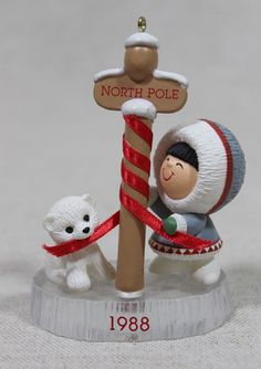 Hallmark Frosty Friends 9th Eskimo Polar Bear Keepsake Ornament 1988 No Box * On Sale  $17.09