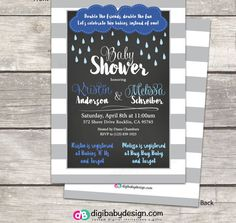 Rain and clouds joint Baby Shower invitations, chalkboard and stripes by DigiBabyDesign