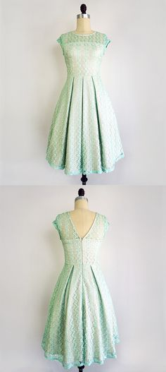 A romantic, swingy dress in soft mint green, this ladylike frock can be worn on many an occasion—summer graduation parties, picnic dates in the park or our favorite, just a regular ol' Tuesday. Delicately woven lace in a squiggly zigzag pattern is sewn into a demure shape, with cap sleeves, a v-back and a full, pleated skirt. The dress is partially lined, for full coverage through the torso and skirt. As an added bonus, the vintage-inspired dress features pockets on either side, for stowing…
