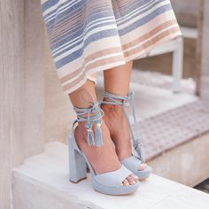 Baby blue heels with the prettiest little details.