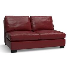 Turner Leather Armless Loveseat Down Blend Wred Cushions Signature Berry Red
