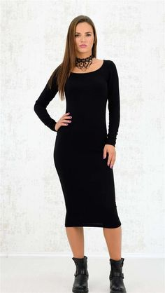 Πλεκτό midi φόρεμα | Χειμερινή Collection 2016 | Potre - 29.9 High Neck Dress, Collection, Black, Dresses, Fashion, Turtleneck Dress, Vestidos, Moda, Black People