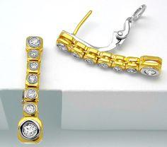 Foto 1, Neu! einmalige Brillant-Ohrgehänge 18K Luxus! Portofrei, S8223