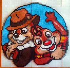 Chip'n Dale's Rescue Rangers hama perler beads by Deco. Hama Disney, Hama Beads Disney, Diy Perler Beads, Hama Beads Design, Hama Beads Patterns, Beading Patterns, Beaded Cross Stitch, Cross Stitch Patterns, Modele Pixel Art