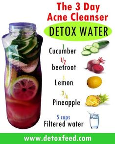 The 3 Day Acne Cleanser Detox Water. Acne can be very devastating and many peop… - Health Detox Full Body Detox, Body Detox Cleanse, Detox Your Body, Juice Cleanse, Diet Detox, Detox Foods, Skin Detox, Detox Tea, 2 Day Detox