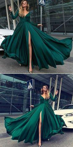 2018 sexy v-neck prom dress long sleeve high slit evening dress dark green prom gowns