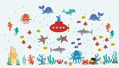 Sea Wall Decals  Ocean Themed Decals  Nursery Wall Decals - https://www.etsy.com/shop/WallDecalMagic