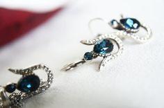 tulip art deco clear crystal navy blue teardrop swarovski rhinestone necklace earrings wedding bridal jewelry bridesmaids jewelry set on Etsy, 35,90$